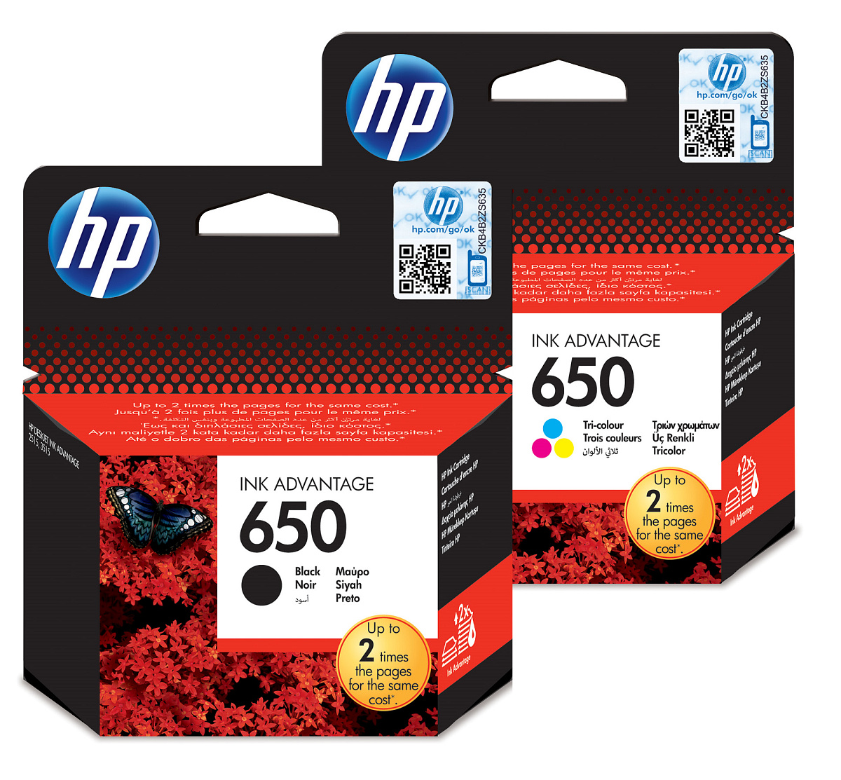 Sada inkoustových kazet HP 650 pro snadné objednání (HP-650)